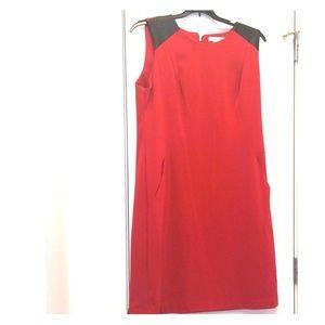 Liz Claiborne Red Dress w/ Leather Shoulders